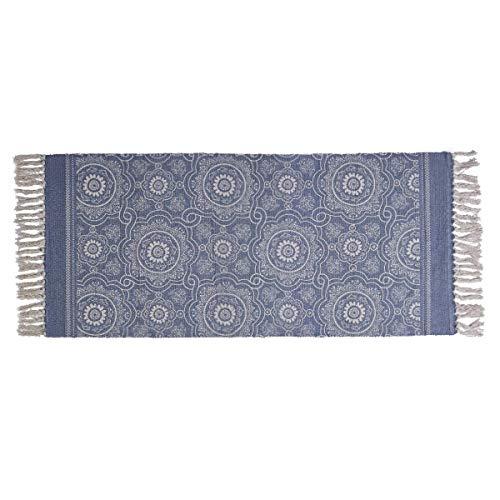 SHACOS Azul Alfombra Moderna Estilo Bohemio con Borla de área pequeña, Vintage Alfombra Lavable, Colores de Tinte Natural 60x130 cm
