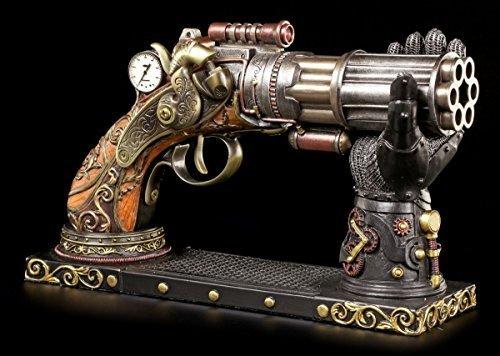 Steampunk Deko Pistole mit Hand-Halterung   Fantasy Waffe Veronese (Extreme Bronziert)
