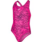 Speedo Boom Allover Splashback, Costume da Bagno Bambina, Multicolore (Electric Pink/Black), 9-10 Anni