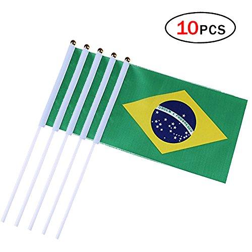 NiceButy Mini-Flagge von Brasilien, Stockflagge, 14 x 21 cm, Party-Dekoration, für Sportvereine, Feiern, Festivals, 10 Stück