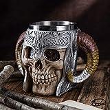 Inossidabile Doppia Maniglia Corno Cranio Birra Tazza,Guerrieri vichinghi Cranio Tazza, Medievale Cranio Boccale per Caffè/Bevanda/Succo 500ml.