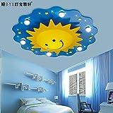 LTERD Kinder Schlafzimmer Lampe Deckenlampe mit LED-Beleuchtung kreative Cartoon Sonne jungen Zimmer Kinder Decke Lampe 55 * 56 * 13 cm,Warmweiß