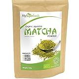 Thé vert Matcha (100 grammes) | MySuperFoods | Davantage d'antioxydants que tout autre aliment | Source riche en nutriments, y compris les vitamines A, C et K | Thé de qualité cérémoniale | Certifié biologique