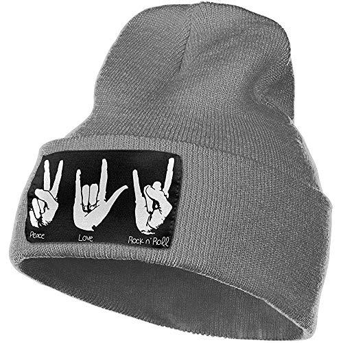 Peace Love and Rock and Roll Warm Winter Hat Gorro de Punto Gorro de Calavera Cuff Beanie Hat Sombreros de Invierno para Hombres y Mujeres