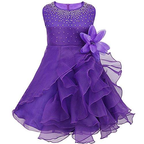 Tiaobug Baby Mädchen Kleid Prinzessin Hochzeit Taufkleid Blumenmädchen Festlich Kleid Kleinkind Festzug Kleidung Lila 74-80 (Herstellergröße: 70)