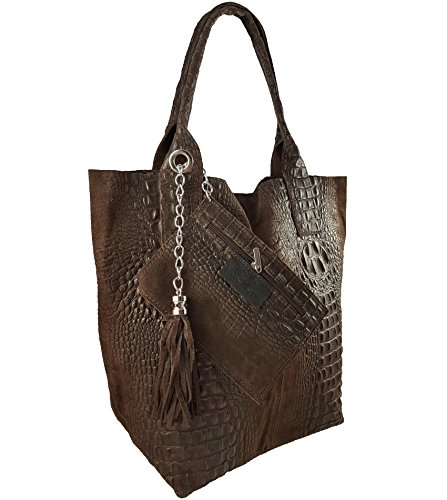 FreyFashion - Made in Italy, Borsa tote donna Dunkelbraun Kroko