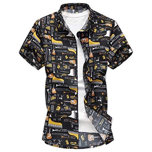 CICIYONER Herren Strand Hemd Hawaiihemd Beach Insel Hirsch Party Vordertasche Button Down Kragen 90\'s surf Aloha Freizeit Hemden M L XL XXL XXXL