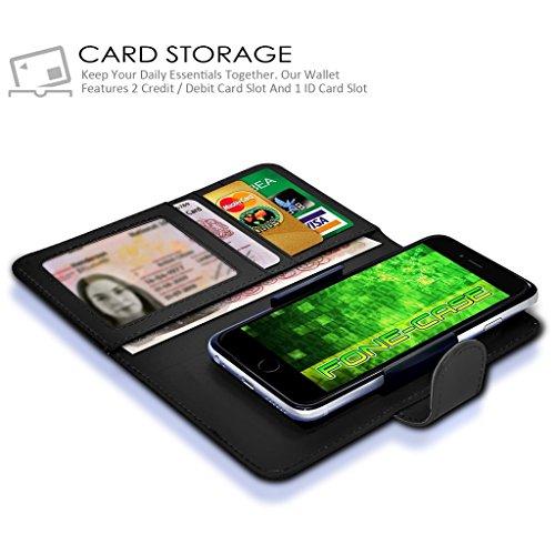 White Apple Iphone 6 / Iphone 6s Case Clamp Style de protection en cuir PU Cover Par Fone-Case Black Universal Clamp Wallet