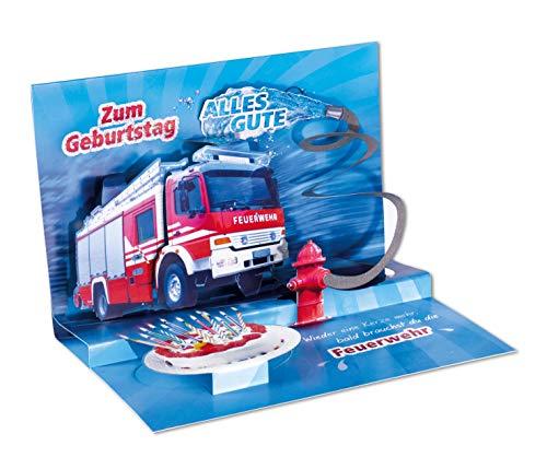 3D Pop - UP Karte Geburtstag, Feuerwehr, Geburtstagskarte 3D, POP - UP Karten, POP UP Karten Geburtstag, Geburtstagskarte lustig, Motiv: Feuerwehr
