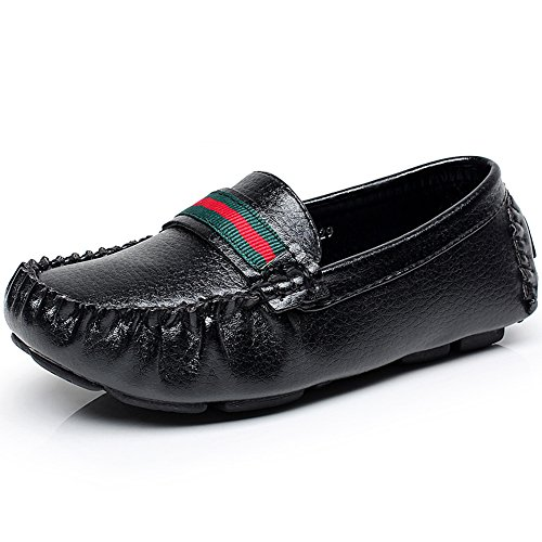 Shenn Boys Comfort Black PU Leather Loafer Flats,Big Kid EU30=UK11=18.1CM