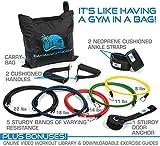 Cayman Premium Fitness Widerstandsband, weil das Fitnessband-Set mit 5 Gummiringen Tür, robust, Anker 2, Neopren, mit Knöchel-Riemen, 2 bequeme Tragegriffe, Tragetasche, inklusive Download, Leitlinien und Online Video-Sammlung - 2