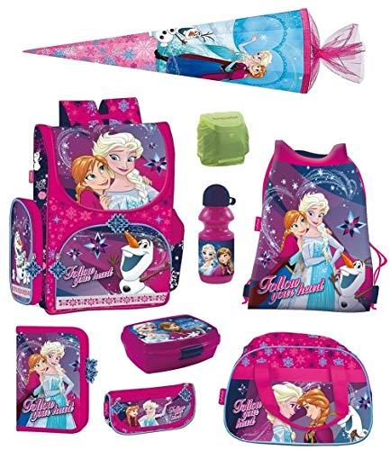Disney Eiskönigin Schulranzen Set 9-TLG. mit Federmappe, Sporttasche, Schultüte 85cm, Regenschutz Pink Frozen PL