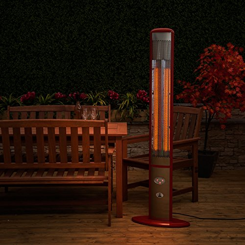 Slimline Electric Halogen Outdoor Patio Heater - Red