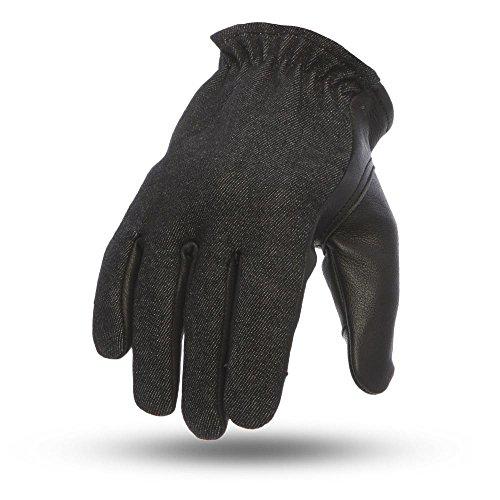 First Manufacturing Men' s 2Tone Roper moto in pelle guanti touch Tech (denim/L), colore nero, 1pezz