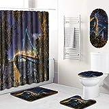 GLONG 5-teiliges Badezimmer-Set mit Duschvorhang, Badematte, Konturvorleger und Deckelabdeckung,A,L