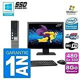 mini PC Dell 7010 Ultra USFF G640 RAM 8gb Scheibe 480Go SSD Wifi W7 Bildschirm 27