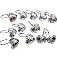 Chictie 12 Piece Set Clear Crystal Shower Curtain Hooks Rings for Bathroom Decorative Bling Polished Chrome Rhinestone Hanger-Rust Proof
