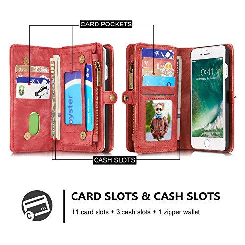 iPhone 7 Plus/iPhone 8 Plus caso Retro vera pelle Genuino Portafogli / multifunzione Coperture del telefono cerniera Portafoglio , vano con chiusura lampo, Slot per scheda / Foto Slot adatto per iPhon Rose