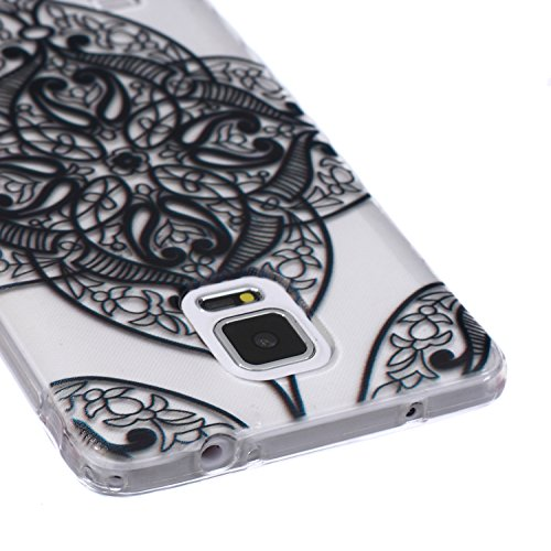 Ekakashop Coque pour Samsung Galaxy Note 4, Ultra Slim-Fit Flexible Souple Housse Etui Back Case Cas en Silicone pour Galaxy Note 4, Soft Cristal Clair TPU Gel imprimée Couverture Bumper de Protection Mandala Floral Noir