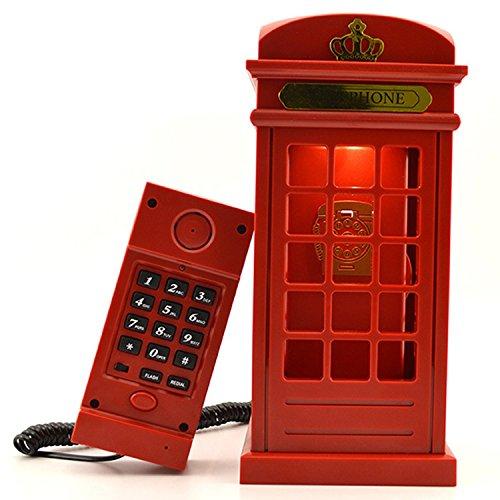 Gearmax® Cabina telefónica Vintage Londres diseñado USB carga noche LED lámpara Touch Sensor mesa escritorio ligero brillo ajustable con cable teléfono fijo para casa dormitorios decoración