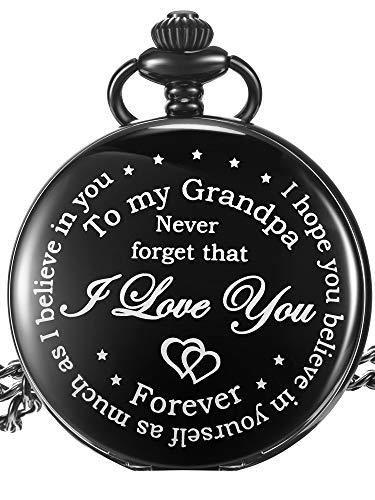 Opa Pocket Watch Opa Geschenk für Weihnachten Geburtstag Vatertag, Personalisierte Geschenk für Opa - Never Forget That, I Love You Forever (Weißes Zifferblatt)