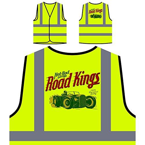Road Kings Hot Rod Garage Retro Blaues Auto Personalisierte High Visibility Gelbe Sicherheitsjacke Weste aa672v -
