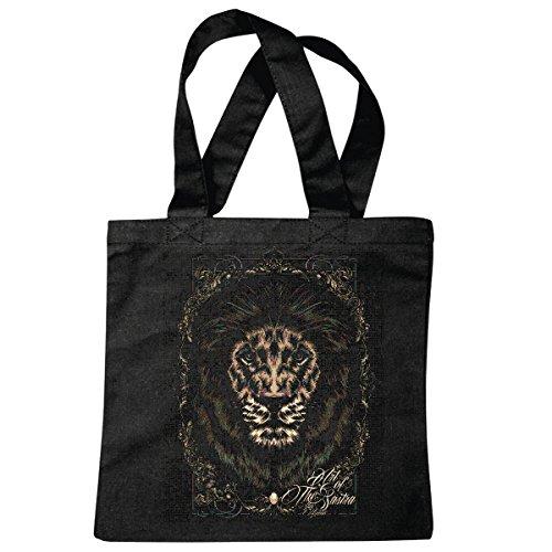 e Gothic Tattoo LÖWE KÖNIG Wildlife LÖWE Wildtier Lion Raubkatze King Raubtier Wildnis Tiger WILDPARK NATIONALPARK Simba Einkaufstasche Schulbeutel Turnbeutel in Schwarz ()