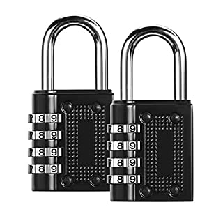 Combination Lock, Pack of 2 Security Padlock Heavy Duty Padlocks 4 Digit Resettable Locker Weather Proof Code Lock Black