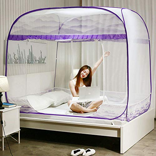 Dome-Moskitonetz,Dreitüriges Moskitonetz, quadratischer Reißverschluss oben, Installation im Studentenwohnheim kostenlos @ 150x200cm_purple -