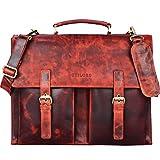 STILORD 'Constantin' Vintage Lehrertasche Aktentasche Herren Damen Bürotasche Hauptfach für 15.6 Zoll Laptop Umhängetasche groß Leder, Farbe:kara - rot