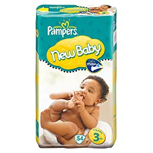 Pampers New Baby Size 3 (9-15 lbs/4-7 kg) Nappies - 2 x Economy Packs of 54 (108 Nappies)