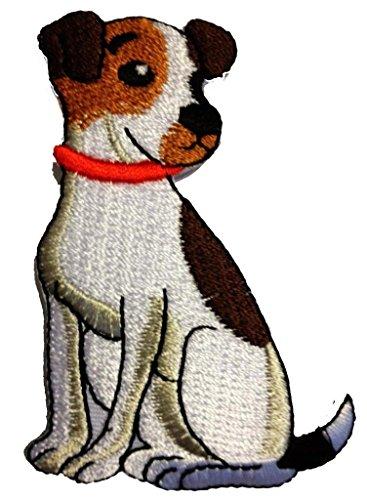 Aufnäher / Bügelbild - Hunde Tier - weiß - 5,5 x 8,0 cm - Patch Aufbügler Applikationen zum aufbügeln Applikation Patches Flicken