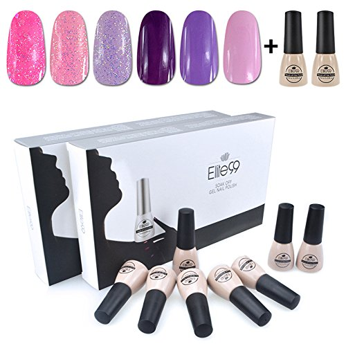 Elite99 Nagelgel, Soak-Off Gel, UV- LED-Nagelgel, 6 Farben + Basislack + Decklack in Manikür-Geschenkbox