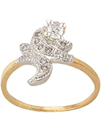 SKN Silver and Golden American Diamond Solitaire Party Alloy Ring for Women & Girls (SKN-3417W)