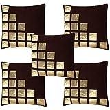 Decor India Velvet Geometric Cushion Covers (Coffee Colour) -Set of 5 Pieces