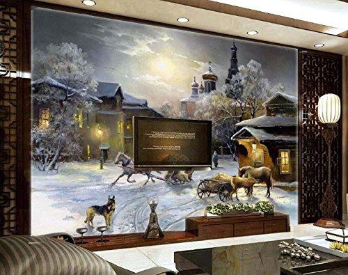 erte Handbemalt 3D Tapete Snow World Weihnachten Kinderzimmer Paradies Wand Tv-Kulisse-400Cmx280Cm ()