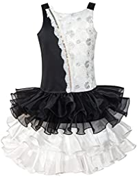 Sunny Fashion Girls Dress Black White Color Contrast Tutu Dancing Dress Age 4-8 Years
