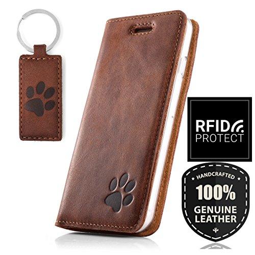 Smart Magnet - Pfote - Premium Vintage Ledertasche Schutzhülle Wallet Case aus Echtesleder Nubukleder Farbe Nussbraun für Samsung Galaxy S10