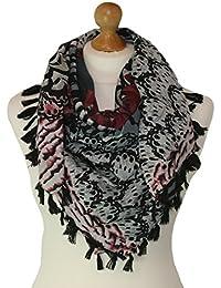 Square Burgandy-Grey coloured scarf with print 829-BU (Burgandy Grey)