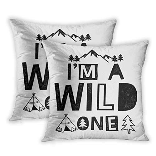 Vintage Childs Tee-set (Nekkzi Cushion Covers Set of Two Print Baby Im Wild One Slogan Graphic Uses Camp Child Summer Bear Patch Climbing Sofa Home Decorative Throw Pillow Cover 20x20 Inch Pillowcase Hidden Zipper)