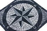 Marmor Rosone 60x60 Kompass Naturstein Windrose Mosaik Einleger Fliesen 014