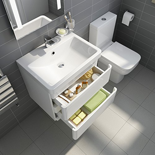white gloss wall hung vanity sink unit bathroom furniture short