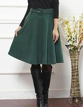 tweed falda del color sólido de las mujeres con la correa (más colores) , m