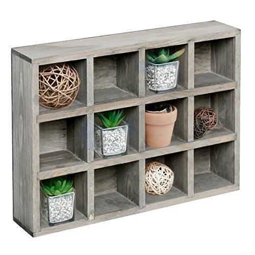 12fach Holz freistehend oder Wand montiert Shadow Box, Display Wandregal Regal, holz, Aged Gray, M -