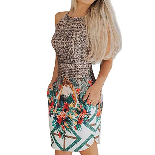 Geilisungren Faldas Corta Mujer Fiesta Elegante, Vestidos Mujer Casual Sin Mangas, Faldas Mujer Cortas, Vestido de Camiseta Verano, Cuello Redondo Faldas Ajustado Patchwork Impresión Minifalda