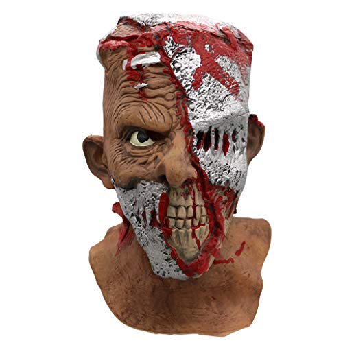 Kostüm Halloween Beängstigend Eine - Alecony Gehen Totes Halloween beängstigend Latex Gummi Gruselig Schrecklich Gesichtsmaske Kopfmaske Furchtbar für Halloween Weihnachten Kostüm Party