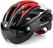 Shinmax Casco Bici con Luce di LED,Certificato CE, Casco con Visiera Magnetica Staccabile Shield Casco da Bici