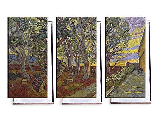 Unified Distribution Vincent Van Gogh - Der Garten des Asyls - Klassisches Gemälde - Replik auf Leinwand Dreiteiler (120x80 cm) -