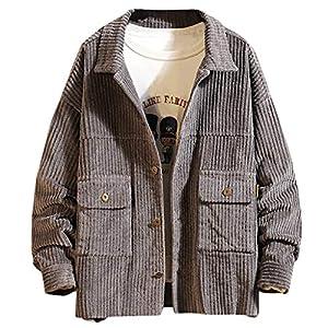Amphia Herren Mäntel, Männer Kurze Art Cord Einfarbig Warme Beiläufige Lange Ärmel Jacken Bluse Top