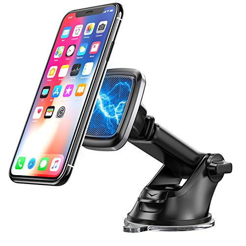 Bovon Handyhalterung Auto Magnet, 360° Rotation KFZ Smartphone Halterung mit Saugnapf & Teleskoparm, Armaturenbrett/Windschutzscheibe Handyhalter fürs Auto für iPhone 11 Pro Max/XS Max/XR usw.